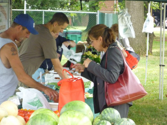 Residents shopping at the New Brunswick Community Farmers Market.