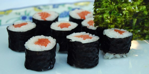 "Sushi is wrapped in the red algae ""Porphyra."""