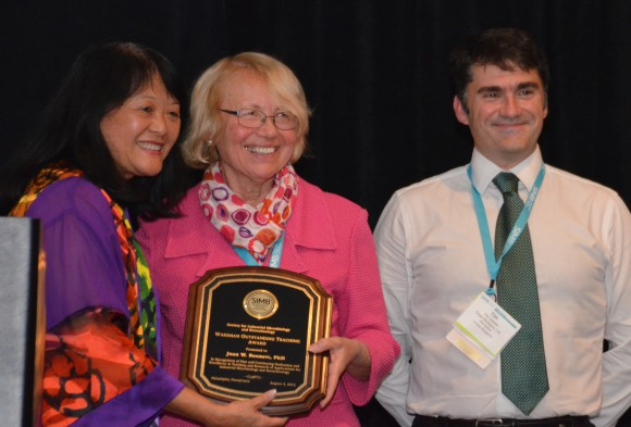 L-R: Amy Cheng Vollmer, president of the Waksman Foundation for Microbiology and professor of Biology, Swarthmore College, Joan Bennett, and Tim Davies, president of the Society of Industrial Microbiology and Biotechnology, Green Biologics Limited, Abingdon, Oxon, UK.