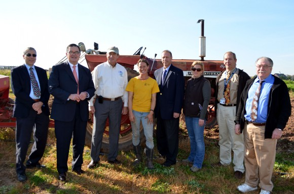 (L-R) Dan Pace of the Mercer County Agricultural Development Board; Mercer County Executive Brian Hughes; Secretary Fisher; Jess Niederer; Hopewell Township Mayor Harvey Lester; Meredith Melendez, Rutgers Cooperative Extension of Mercer County Agricultural Agent; Erich Bremer, NJDA Organic Certification; Angelo Trapani, NJ State Board of Agriculture member