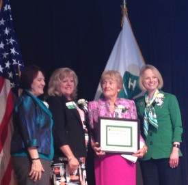 Award presentation (let to right) Lisa Lauxman, Director, Division of Youth and 4-H, Institute of Youth, Family and Community, NIFA, USDA; Kimberly Gressley, President, National Association of Extension 4-H Agents; Ricki Leal, Retired from the New Jersey Department of 4-H Youth Development and Jennifer Sirangelo, President and Chief Executive Officer, National 4-H Council.