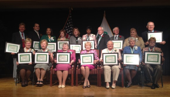 Class of 2015 4-H Hall of Fame Laureates. Dorothy Calimer is front row, third from right.