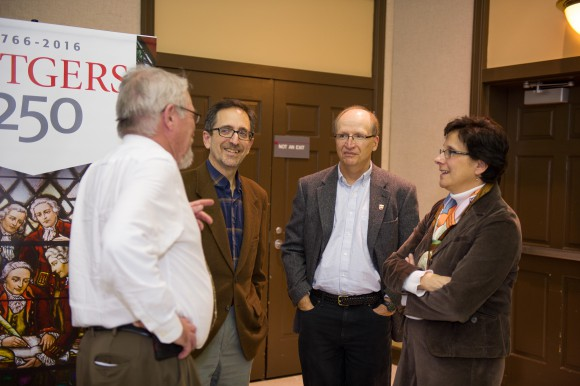 Andrew Revkin (second from left) with (from left to right) Executive Dean Bob Goodman, Tony Broccoli, Co-Director of Rutgers Climate Institute, and Marjorie Kaplan, Associate Director of Rutgers Climate Institute.