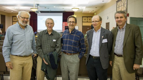 Andrew Revkin (center) with climate scientists, (left to right) Alan Robock (Distinguished Professor, Environmental Science, SEBS), Ron Stouffer (Climate and Ecosystems Group, Geophysics Fluids Dynamics Laboratory), Tony Broccoli, (Co-Director of the Rutgers Climate Institute), and Dave Robinson (New Jersey State Climatologist and Professor of Geography, SAS).