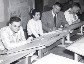 Prior to the landscape architecture program becoming accredited, DeBoer taught the Planting Design course. Photo circa 1964.