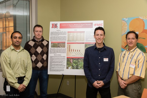 FMC Corp Global Innovation Center crop protection team, Ewing, NJ hosts Rutgers SEBS intern. From left to right: Duncan Aust, Global Innovation Center Director; Gurinderbir Chahal, FMC Corp.; Anthony Noto; and Jack Rabin, Rutgers NJAES Associate Director of Farm Programs.