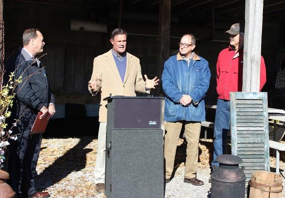 L-R: Howard Henderson, USDA; Dave Specca, Rutgers EcoComplex; Douglas Fisher, NJ Secretary of Agriculture; and Rob Fulper III, Fulper Family Farm.