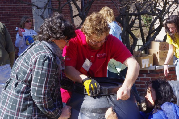 Rain Barrel Workshop at Rutgers Home Gardeners School. Photo credit: Rebecca Sheil Rathmill.