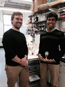 REI intern Ajay Kashi (at right) with his mentor Anders Laursen, post-doctoral associate.
