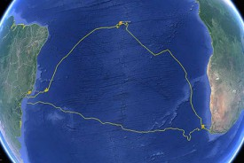 Image depicts the full Challenger Mission circumnavigation of the southern Atlantic Ocean basin.