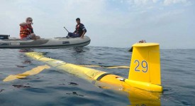 "Recovery of the Rutgers ""Challenger"" glider following its historic circumnavigation of the South Atlantic Ocean."
