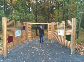Kontos Memorial Kiosk at the Rutgers EcoPreserve was designed and constructed by Brian Curry (SEBS'12).