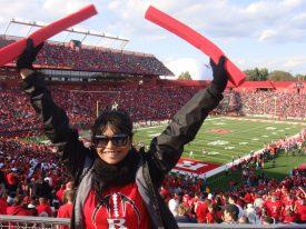 Saba demonstrates her Rutgers spirit.