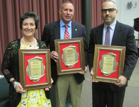 L-R: Elizabeth Ryan, Chris Dorko and Peter Tabbot, winners of the 2016 George Hammell Cook Distinguished Alumni award.
