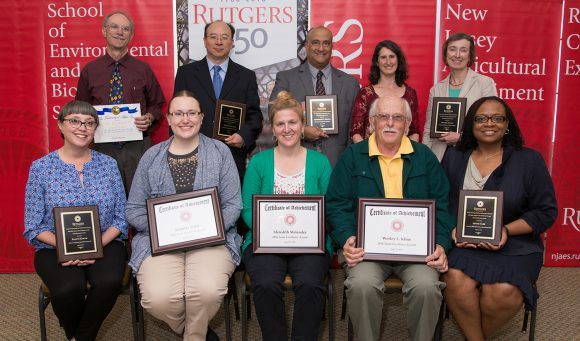 2016 Excellence Award winners. Back row, l-r: Rick Ludescher, Weilin Huang, Christopher Obropta, Marci Meixler, Jennifer Francis. Front row: Dalynn Knigge, Jennifer Todd, Meredith Melendez, Wesley Kline, and Jenice Sabb.