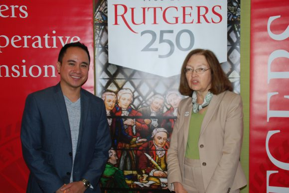 Jason Vitug ('07 RBS) founder of Phroogal with Barbara O'Neill, Rutgers Cooperative Extension specialist in financial resource management.