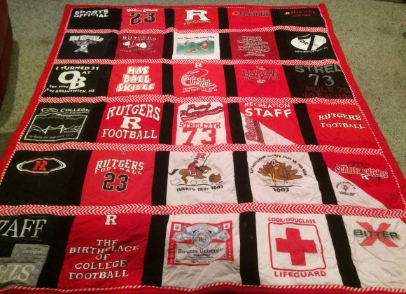 Cook alumna's Rutgers t-shirt quilt. Photo by Diana Strelczyk