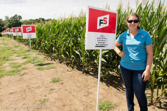 Catherine Cincotta in her commercial test corn field at Growmark's facility in Easthampton, NJ, in July 2016.
