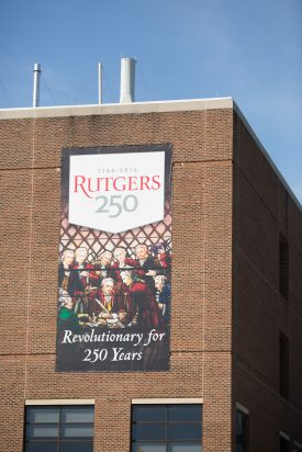 Food Science Building wtih Rutgers 250 Banner.