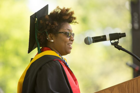 Class Representative Jessie Davis addressing the Class of 2016 at the SEBS Convocation. Photo credit: John O'Boyle