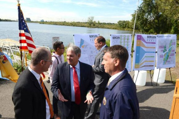 From left, Wolfram Hoefer of Rutgers, Bergen County Executive James Tedesco and Freeholder Steve Tanelli on Monday after announcing a partnership with Rutgers to create a master plan that will guide development of county parks. Rutgers plans to survey residents. Photo by Tariq Zehawi