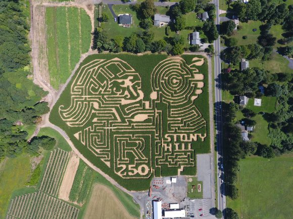 Stony Hill Rutgers 250 Corn Maze featuriing the Rutgers Scarlet Knight.