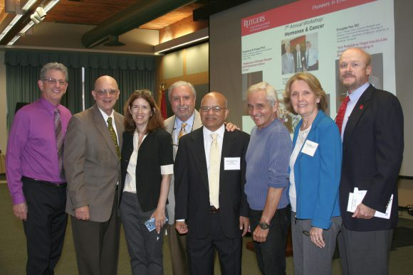 Left to right: Larry Katz, Louis Amorosa, Sue Shapses, Stavros Manolagas, Dipak Sarkar, Donald Pfaff, Carol Bagnell and Christopher Molloy.