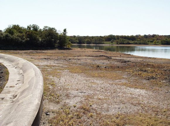 Spruce Run Reservoir in Hunterdon County during 2002 drought. Photo by Dan Van Abs