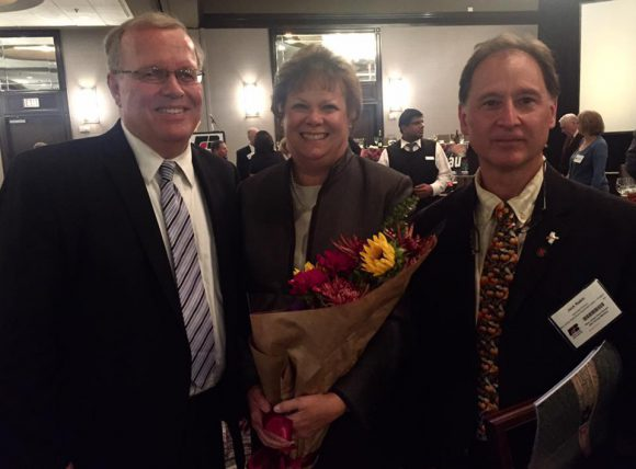 L-R: New Jersey Executive Director Peter Furey, Debbie Hartnett Costello, who was honored for her years of service to NJFB, and Jack Rabin.