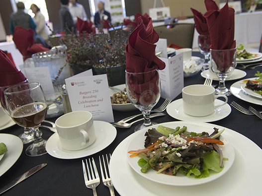 The salad served at the Rutgers 250 Breeding Celebration and Luncheon featured lettuce, asparagus, candied hazelnuts and a strawberry vinaigrette.