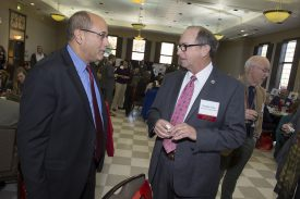 (L to R) Director of Rutgers Food Innovation Center Lou Cooperhouse and New Jersey Secretary of Agriculture, Douglas Fisher at the Breeding Celebration and Luncheon. Photo by Nick Romanenko
