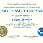 Rutgers Site Honored for 50 Years of Weather Observations by National Weather Service